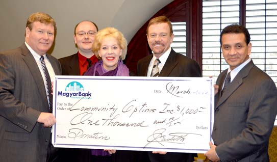 John S. Fitzgerald, President and CEO Magyar Bank, Frank Lankey, Community Relations Specialist Magyar Bank, Victoria Gorman, Vice President and New Brunswick Branch Manager, Robert Stack, President and CEO of Community Options and Jay E. Castillo, President, MagyarBank Charitable Foundation.
