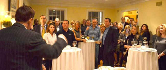 Robert Stack speaks to the Guests at the Mendham Home of Scott and Alex Liebold