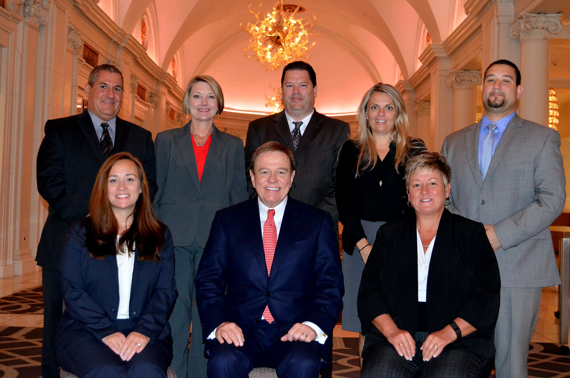 left to right (back row): Brian Dion, David Sweeney, Svet Repic-Qira, Michael Carnicella. (front row): Courtney Eidel, Robert Stack, Karen Hensley.