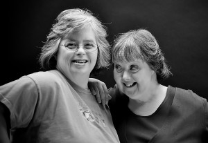 Two people together smiling in black and white photo from Kentucky.