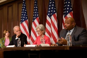 (Vice President Joe Biden and Secretary of Health and Human Services Kathleen Sebelius listen Perry Gaskins, a small business owner talks about rising health insurance costs his company is facing during a healthcare roundtable in room 350 of the EEOB, Friday, July 10, 2009. Official White House Photo by David Lienemann)