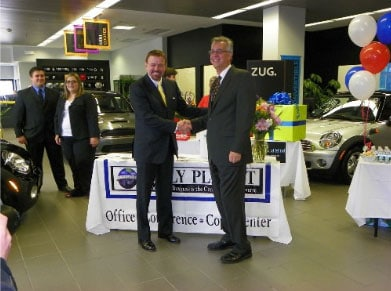 Left, Robert Stack, President and CEO of Community Options, Inc. Right, Ed Grusczynski, General Sales Manager of MINI of Morristown