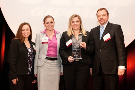 From left to right: Courtney Eidel, VP of HR and QA, Nicole Rickenbach, Executive Assistant, Svetlana Repic-Qira, Regional VP and Robert Stack, President and CEO of Community Options.