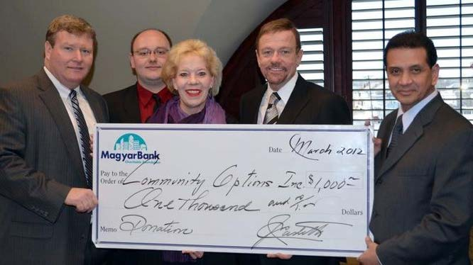 (from left to right): John S. Fitzgerald, President & CEO, Magyar Bank, Frank Lankey, Community Relations Specialist, Magyar Bank, Victoria Gorman, Vice President and New Brunswick Branch Manager, Robert Stack, President & CEO, Community Options & Jay E. Castillo, President, Magyar Bank Charitable Foundation