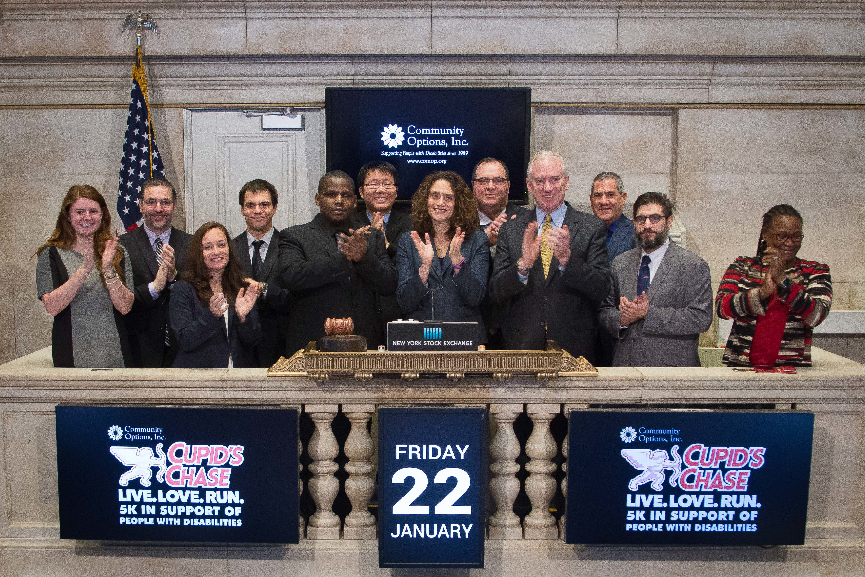 Robert Stack, President of Community Options, selected Roy King to ring the bell at the New York Stock Exchange, Friday January 22, 2016