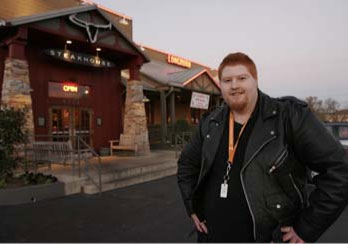 Keith outside Longhorn Steakhouse in Hermitage, TN