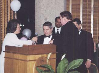 Bernard Krakowsky, center, speaking at the gala event.