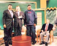 """Host Mike Gilliam, Robert Stack, T LaRock and Bernard Krakowsky after taping """"Garden State Matters,"""" a UPN9/FOX/WWOR TV program."""