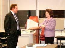 Robert Stack and Dr. Nancy Westburg, Professor of Graduate Education, Rider University, November, 2003.