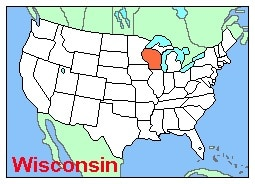 Wisconsin highlighted on a map of the US