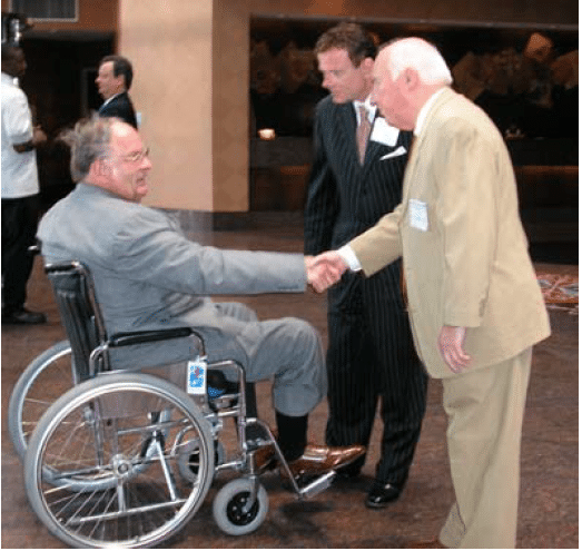 John Hager, Assistant Secretary U.S. Department of Education, Special Education and Rehabilitative Services is greeted by Dr. York and Robert Stack.