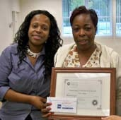 Direct Support Recognition Week! Ayesha Patrick, Executive Director, Somerset Coounty honors Michelle Seward.