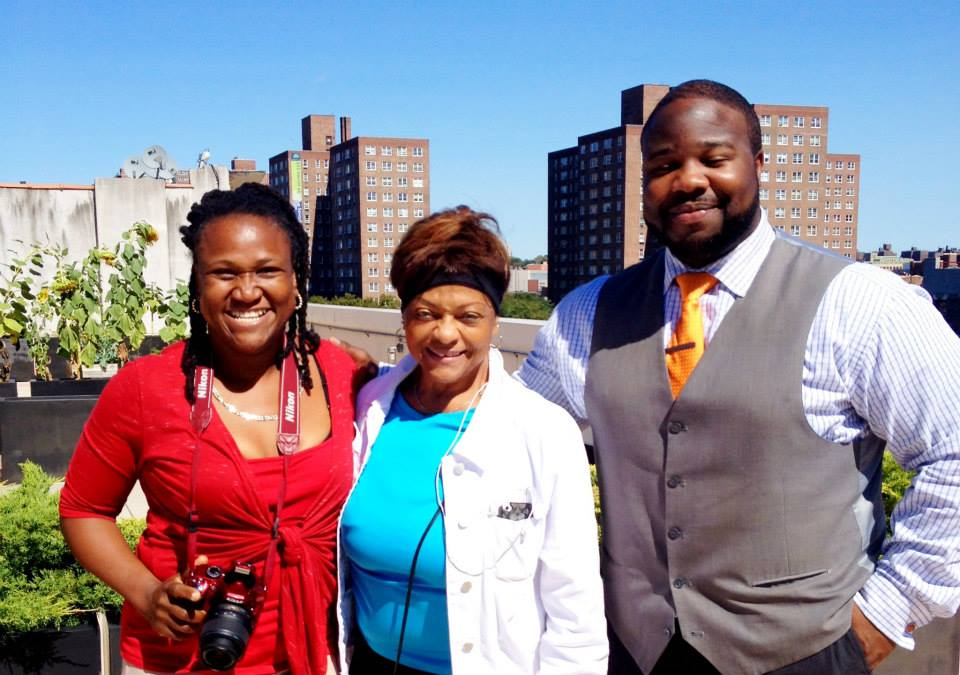 Director of Residential Services, Alicia Henry, New York City Councilwoman Inez Dickens, and Executive Director Christopher Thompson on the rooftop of our home in Harlem were residents have a designated picnic area.