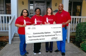 Photo includes: Dr. Sharee Smith, Dorothy Goodwin, Executive Director, Theresa Taylor, COBAC Chairperson, and Bryant Sumter, Sales Support Manager for Coca Cola.