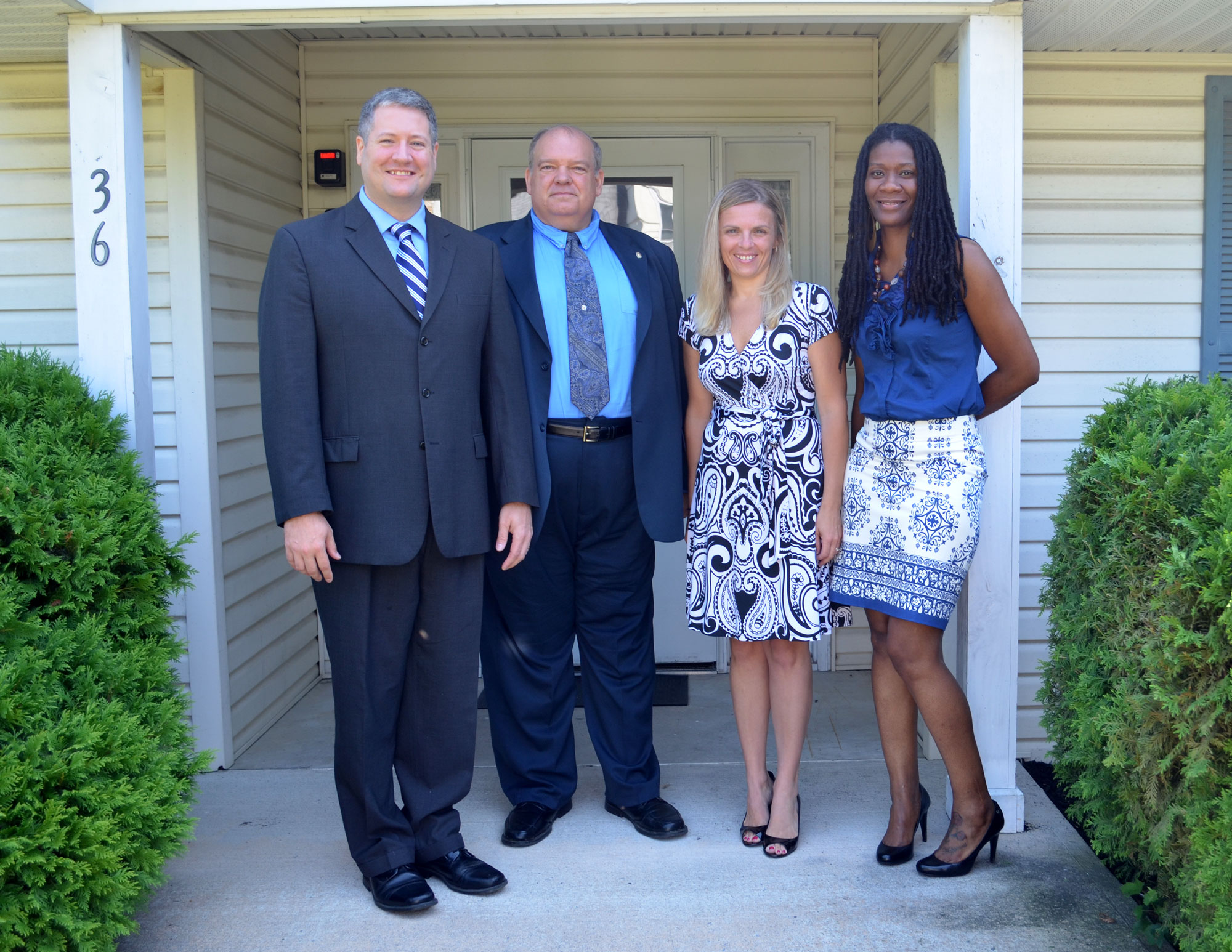 Assemblyman Dan Benson, John S. Pavlovsky Jr., CPA & Chairperson of the National Community Options Business Advisory Council, Svetlana Repic-Qira, Community Options Regional Vice-President for New Jersey, & Hope Kye, Community Options Executive Director for Mercer County, New Jersey at our Hamilton Home.