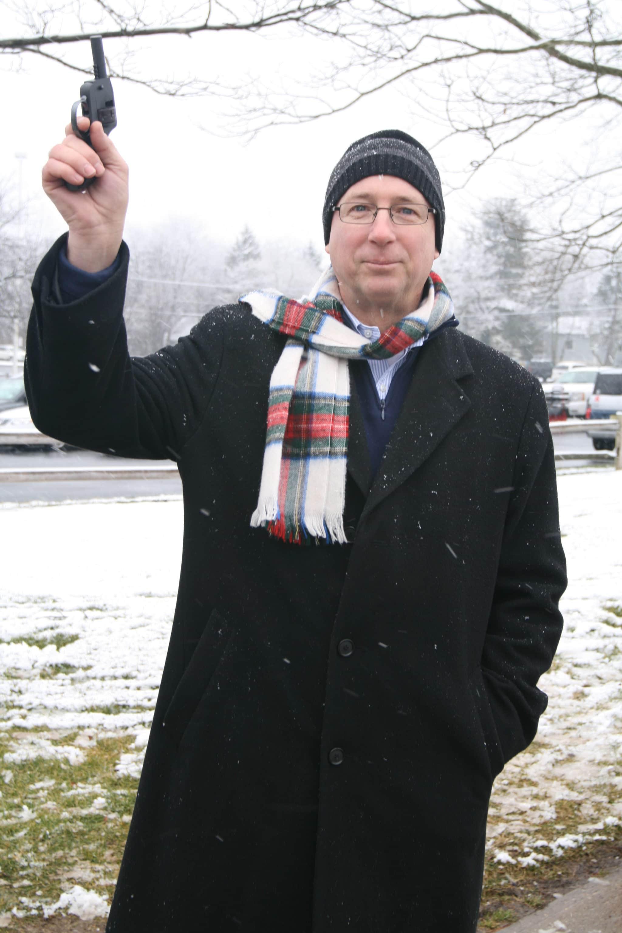 Featured in photo: Greg Hritz, Hadleman Ford, Shoots the gun to start the Princeton, NJ run.