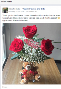 Thank you for the flowers! I know it's really cold out today, but the ladies who delivered these to my dorm were so nice. Made it extra special! 😊 appreciate it. Happy Valentines!