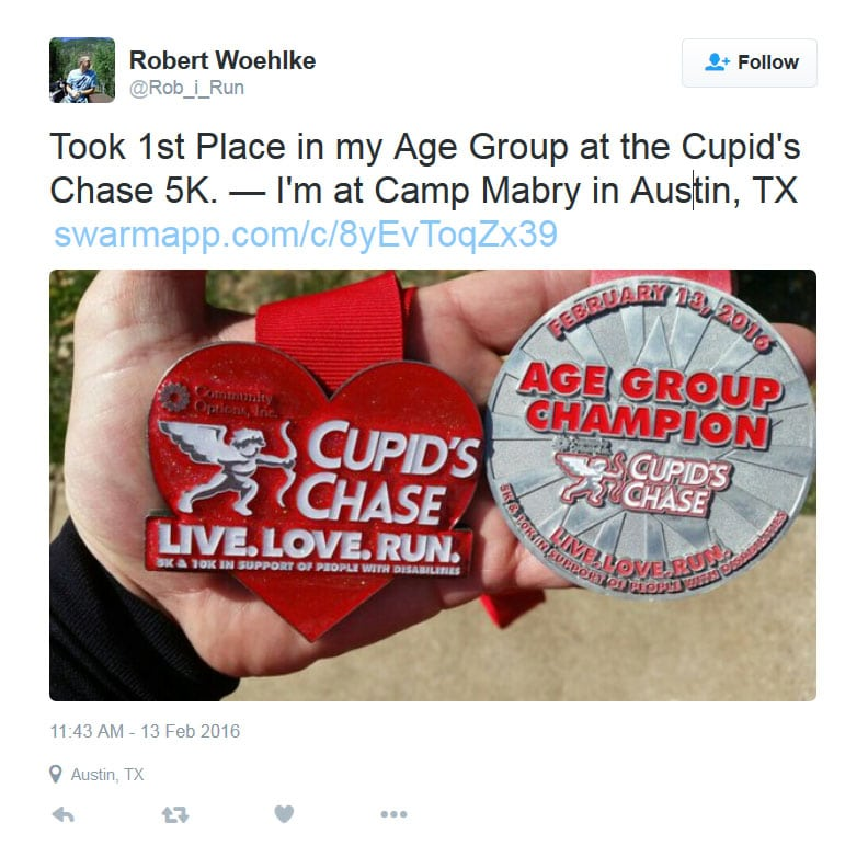 Took 1st Place in my Age Group at the Cupid's Chase 5K. — I'm at Camp Mabry in Austin, TX