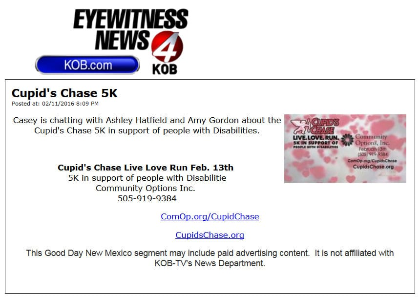 Good Day New Mexico's Casey is chatting with Ashley Hatfield and Amy Gordon about the Cupid's Chase 5K in support of people with Disabilities.