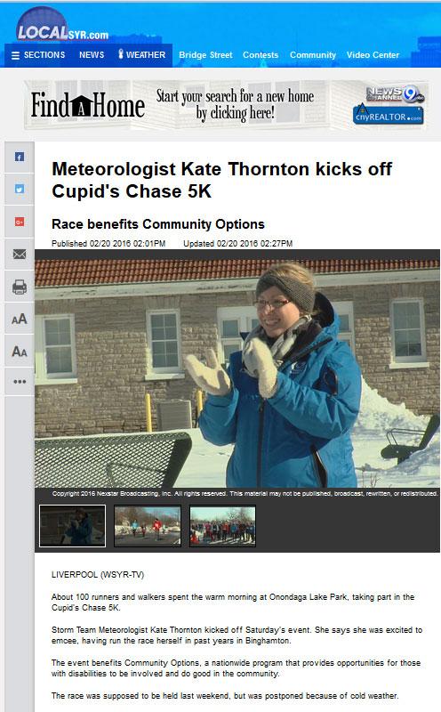 Meteorologist Kate Thornton kicks off Cupid's Chase 5K Race benefits Community Options