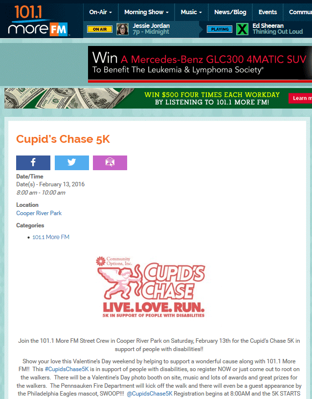 2016CupidsChaseLogo_wslogan_5k_10k  Join the 101.1 More FM Street Crew in Cooper River Park on Saturday, February 13th for the Cupid's Chase 5K in support of people with disabilities!
