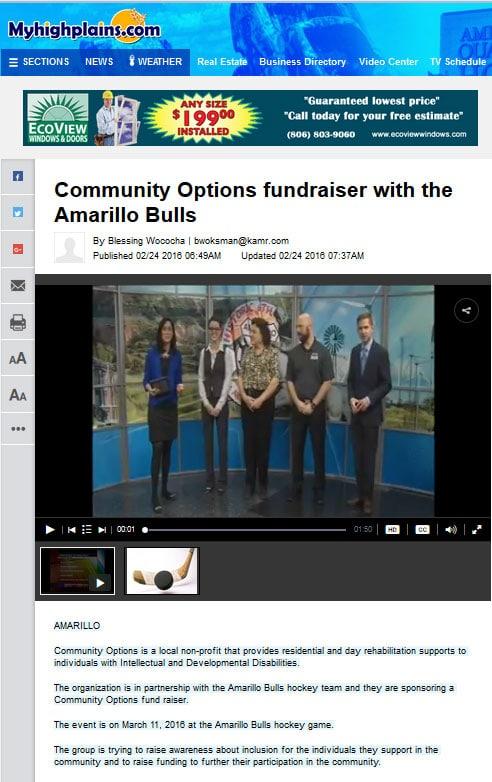 Community Options fundraiser with the Amarillo Bulls