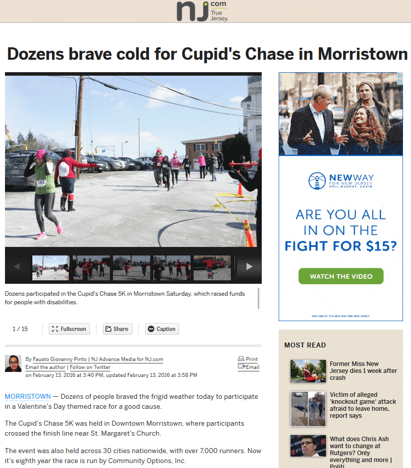 Dozens participated in the Cupid's Chase 5K in Morristown Saturday, which raised funds for people with disabilities.