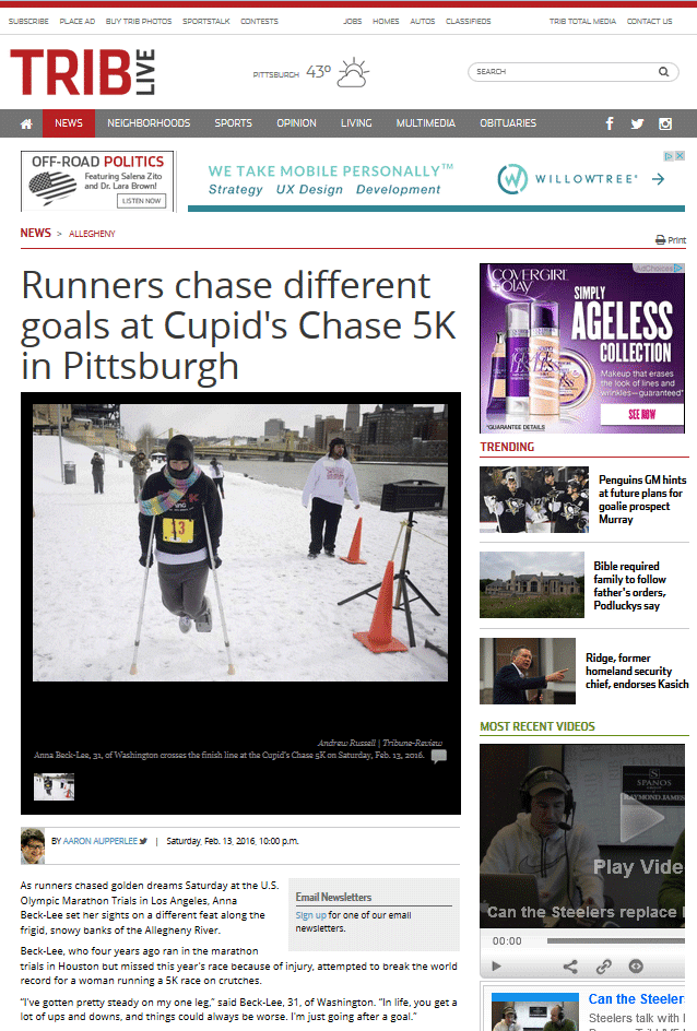 Runners chase different goals at Cupid's Chase 5K in Pittsburgh
