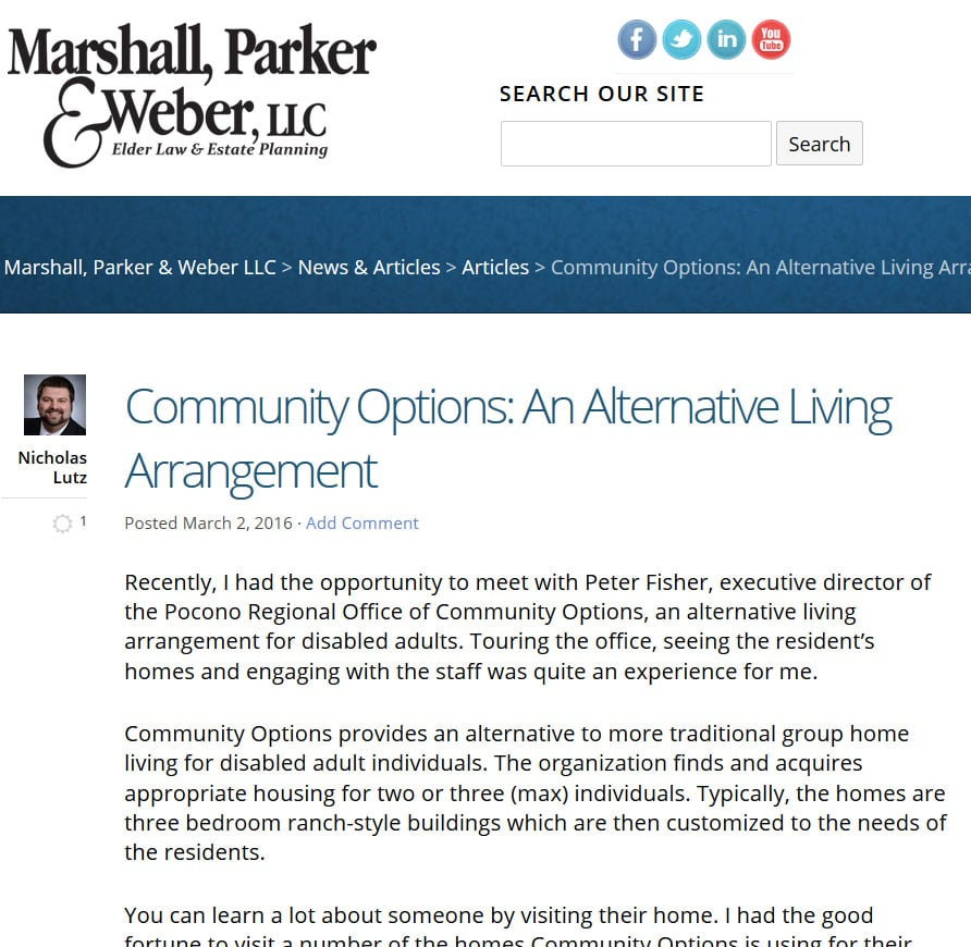 Community Options: An Alternative Living Arrangement