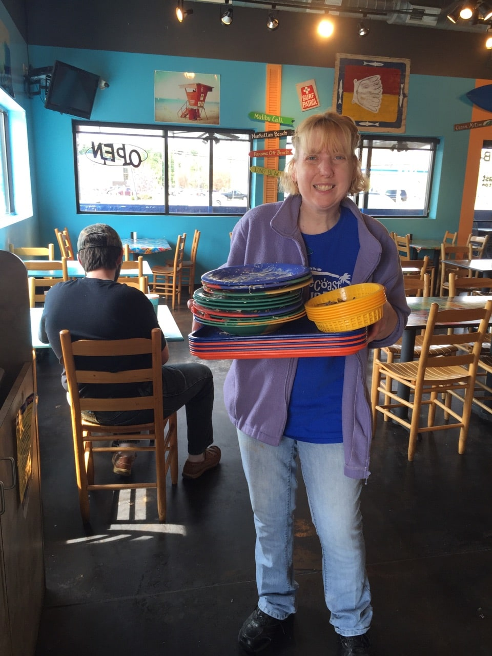 Amanda Carrying Bussing Tables