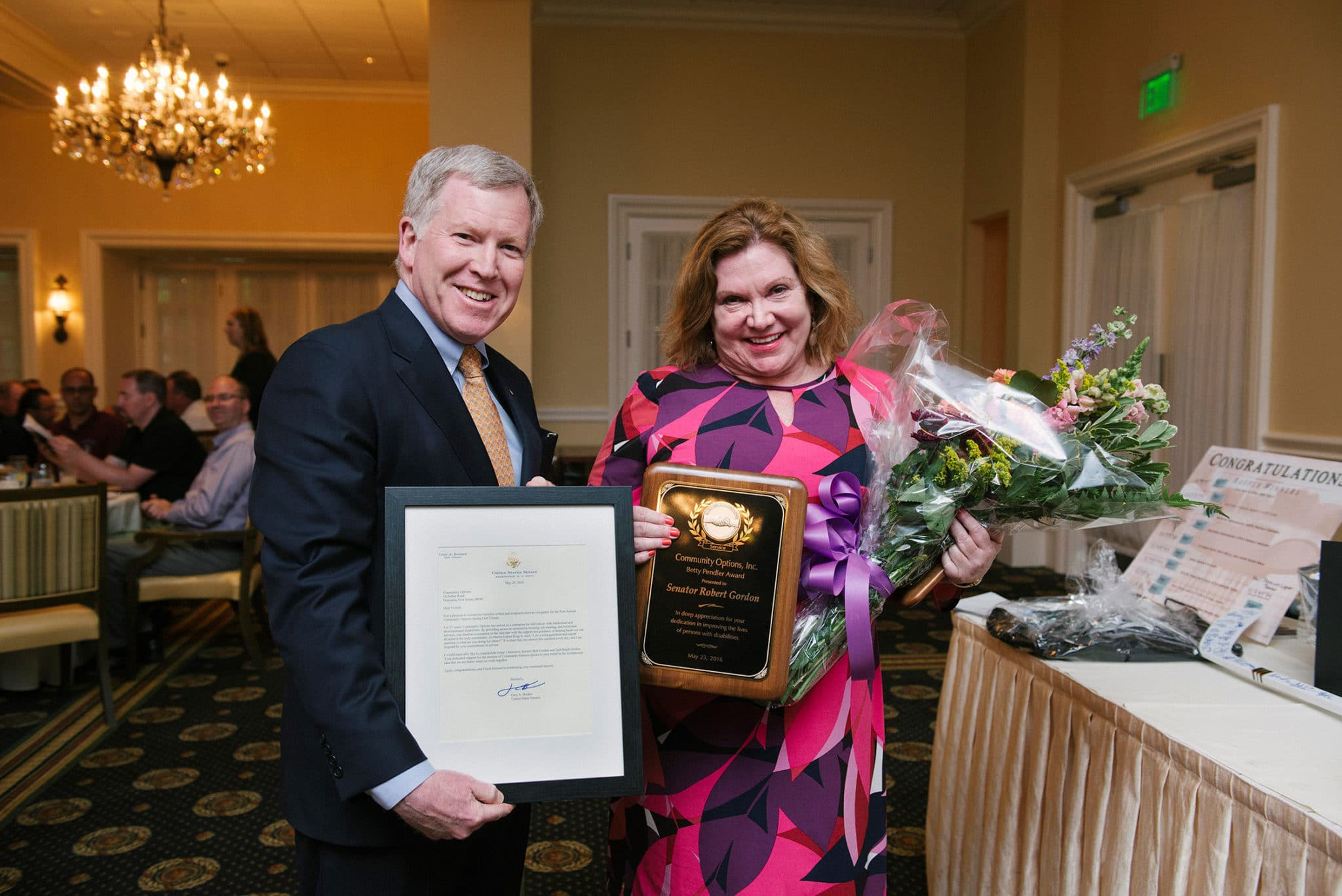 Gail and Senator Gordon were honored during Community Options, Inc.'s spring iMatter Golf Classic at the Alpine Country Club in Demarest on May 23, 2016.
