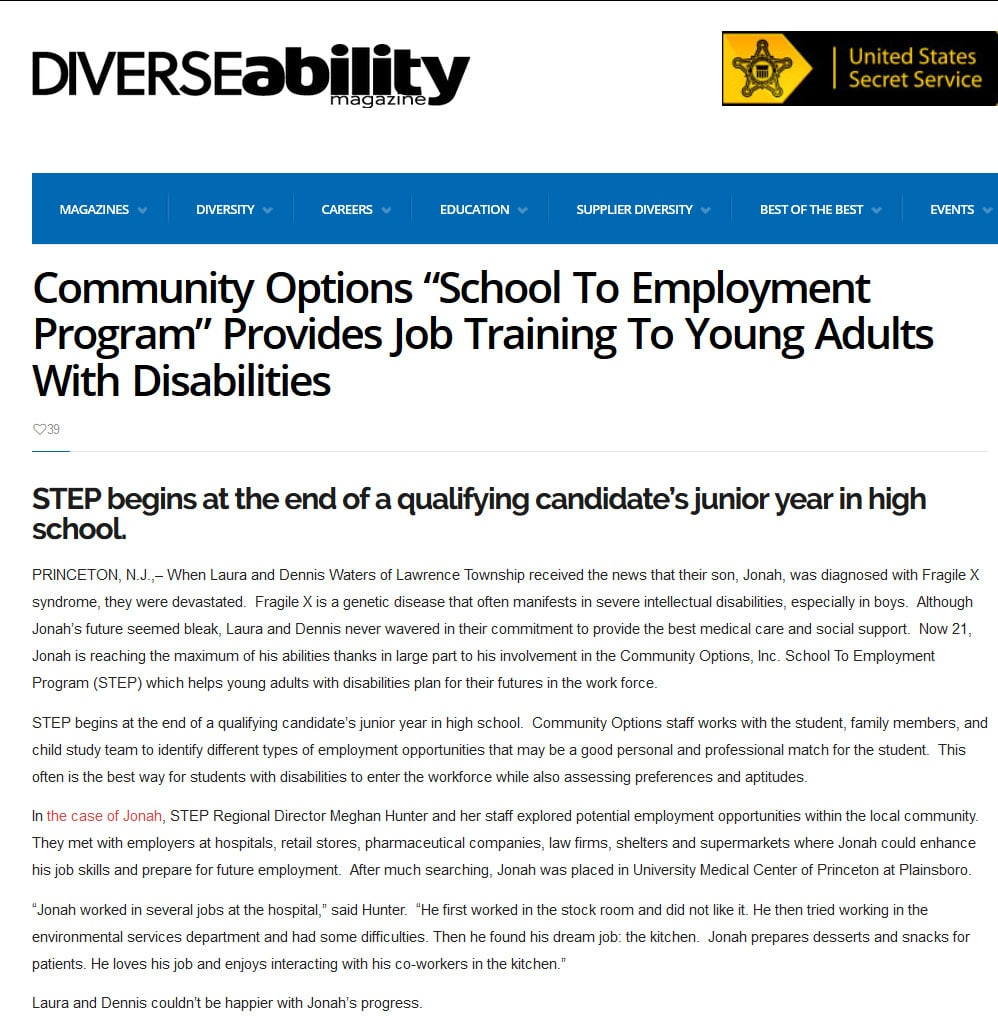 Diverse Ability Magazine Article. STEP begins at the end of a qualifying candidate's junior year in high school.