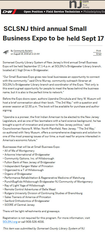 nj.com - Community Options, Inc. of Hillsborough will be at the Somerset County Library System of New Jersey's third annual Small Business Expo will be held September 17, 1-4 p.m. at SCLSNJ's Bridgewater Library branch, located at 1 Vogt Drive in Bridgewater.