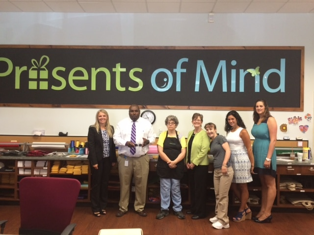 State of New Jersey's Director of Vocational Rehabilitation Services Alice Hunnicutt visits Community Options' Presents of Mind in Flanders, NJ.