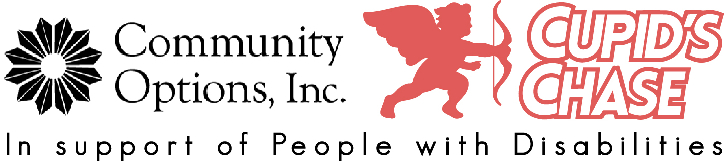 2017 Cupid's Chase Logo with Community Options, Inc. Logo and support line.