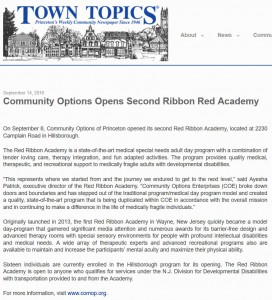 September 14, 2016 - Town Topics Newspaper. Community Options Opens Second Ribbon Red Academy