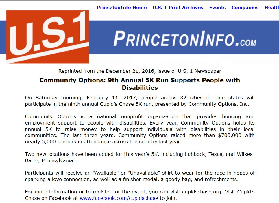 princetoninfo.com - Community Options: 9th Annual 5K Run Supports People with Disabilities