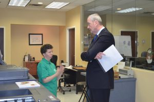 New Jersey gubernatorial candidate Phil Murphy visited nonprofit Community Options' Daily Plan It office in Princeton, NJ.