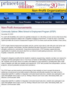 Community Options Offers School to Employment Program (STEP)