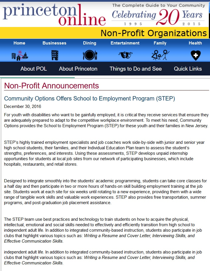 Princeton Online article - Community Options Offers School to Employment Program (STEP)