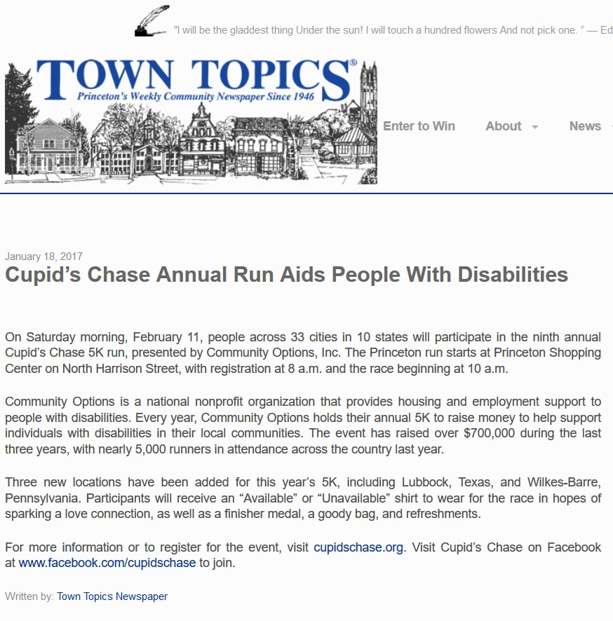 towntopics.com - Cupid's Chase Annual Run Aids People With Disabilities