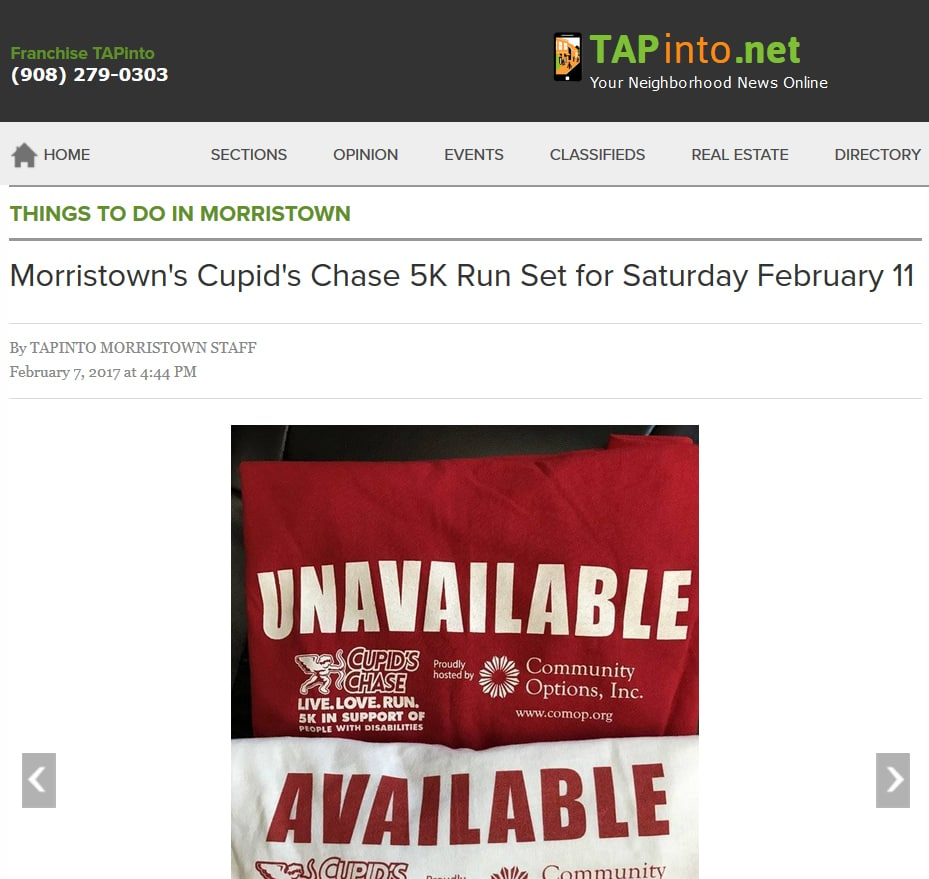 Morristown's Cupid's Chase 5K Run Set for Saturday February 11