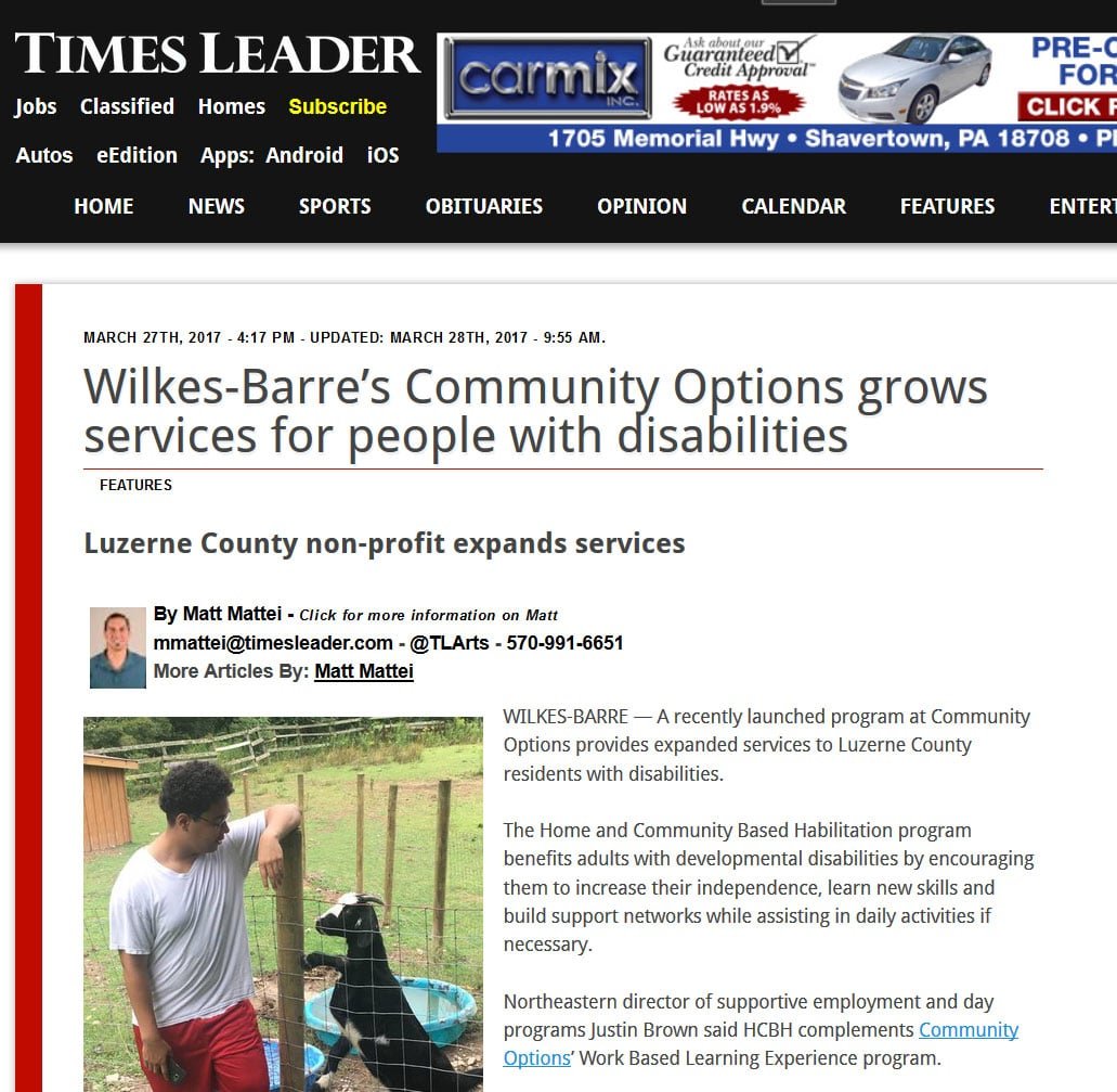 Wilkes-Barre's Community Options grows services for people with disabilities