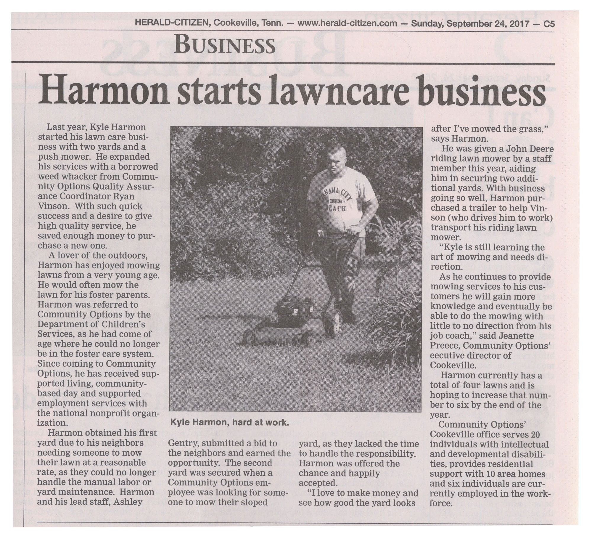Cookeville Native Starts His Own Lawncare Business