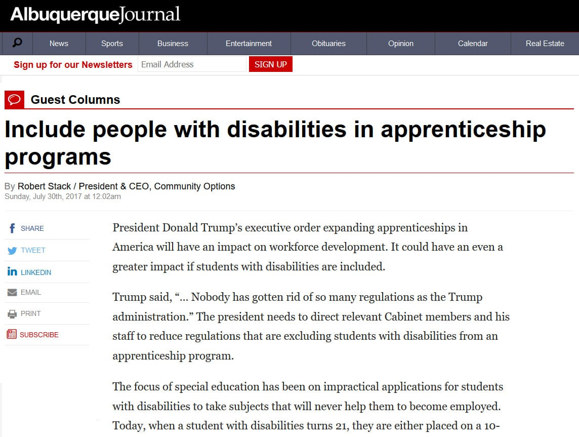 Include people with disabilities in apprenticeship programs - Albuquerque Journal