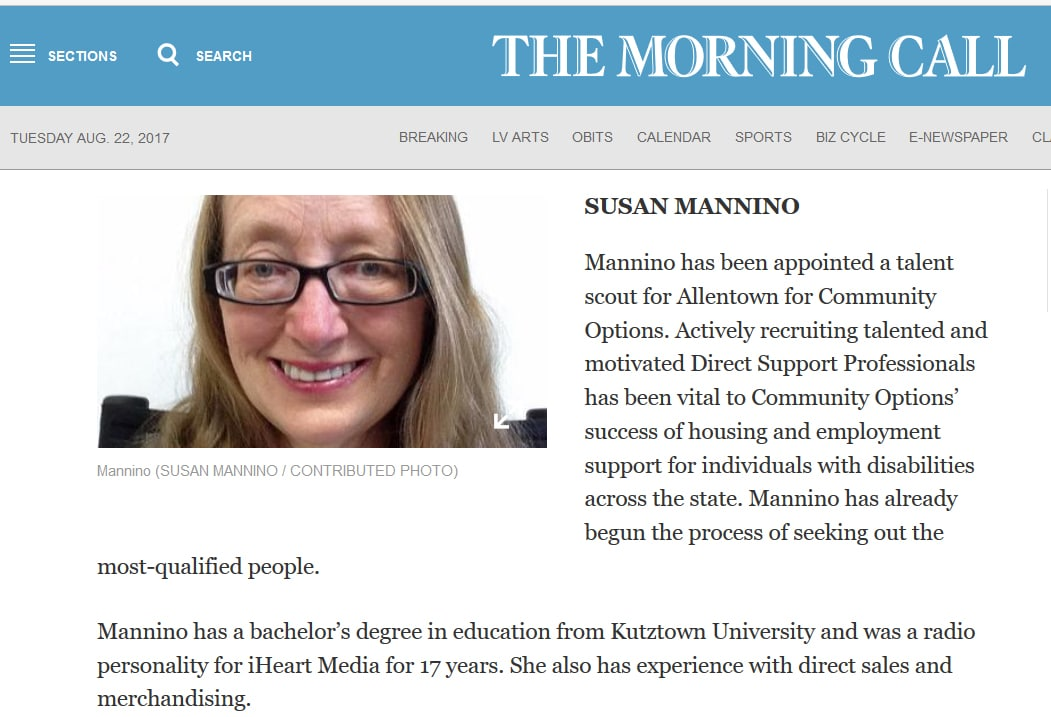 Mannino has been appointed a talent scout for Allentown for Community Options