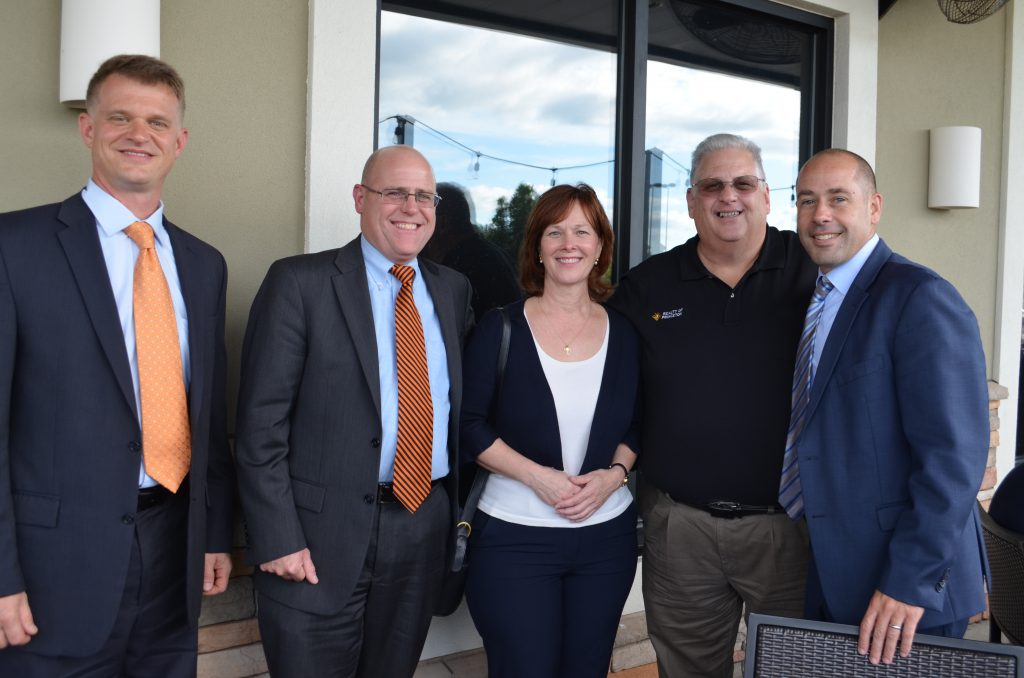 Members of the Carnegie Business Collaborative, Gabe Shick, Christopher Kuhn, James A. McKenna, & Mick Cimorelli with Beth O'Brien, Director of the Senior Care Ministry of Princeton