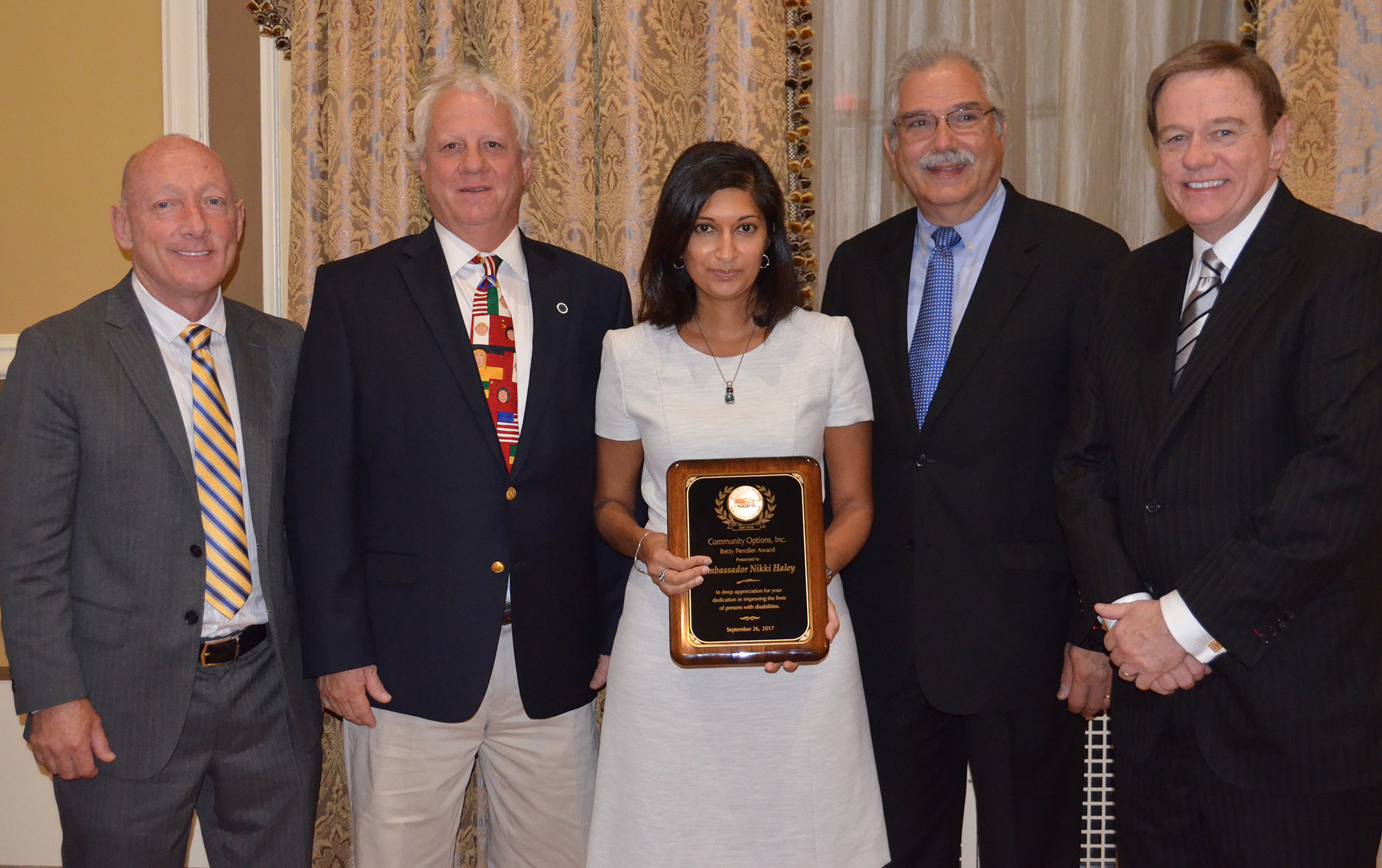 From L to R: James Spano, Trustee, Community Options Enterprises; Peter Dulligan, Trustee, Community Options, Inc.; Swati Patel, then-governor Nikki Haley's chief of staff; Robert Stack, President & CEO, Community Options, Inc.; Philip Lian, Trustee, Community Options Enterprises, Inc.