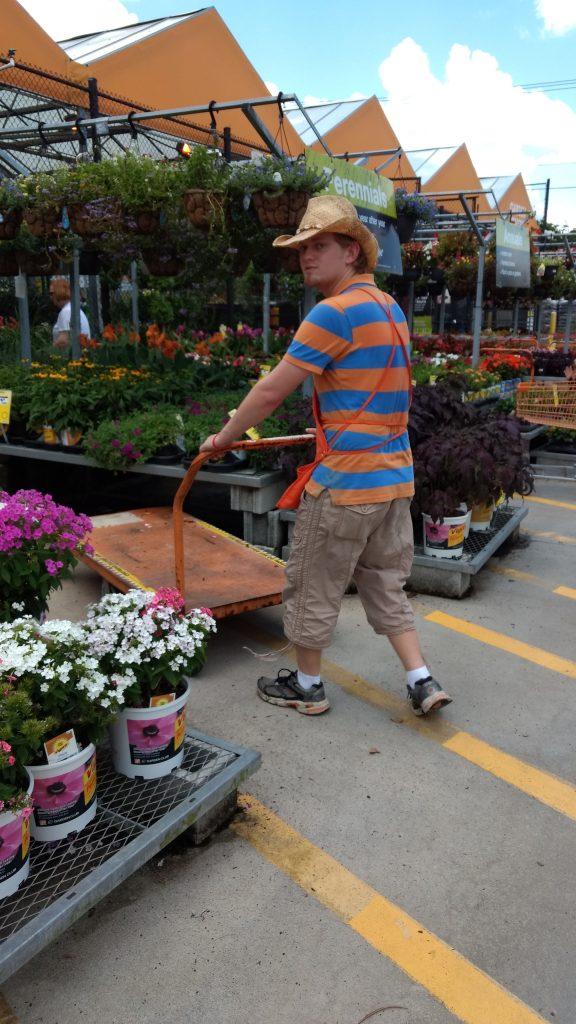 Ben managing the gardening section