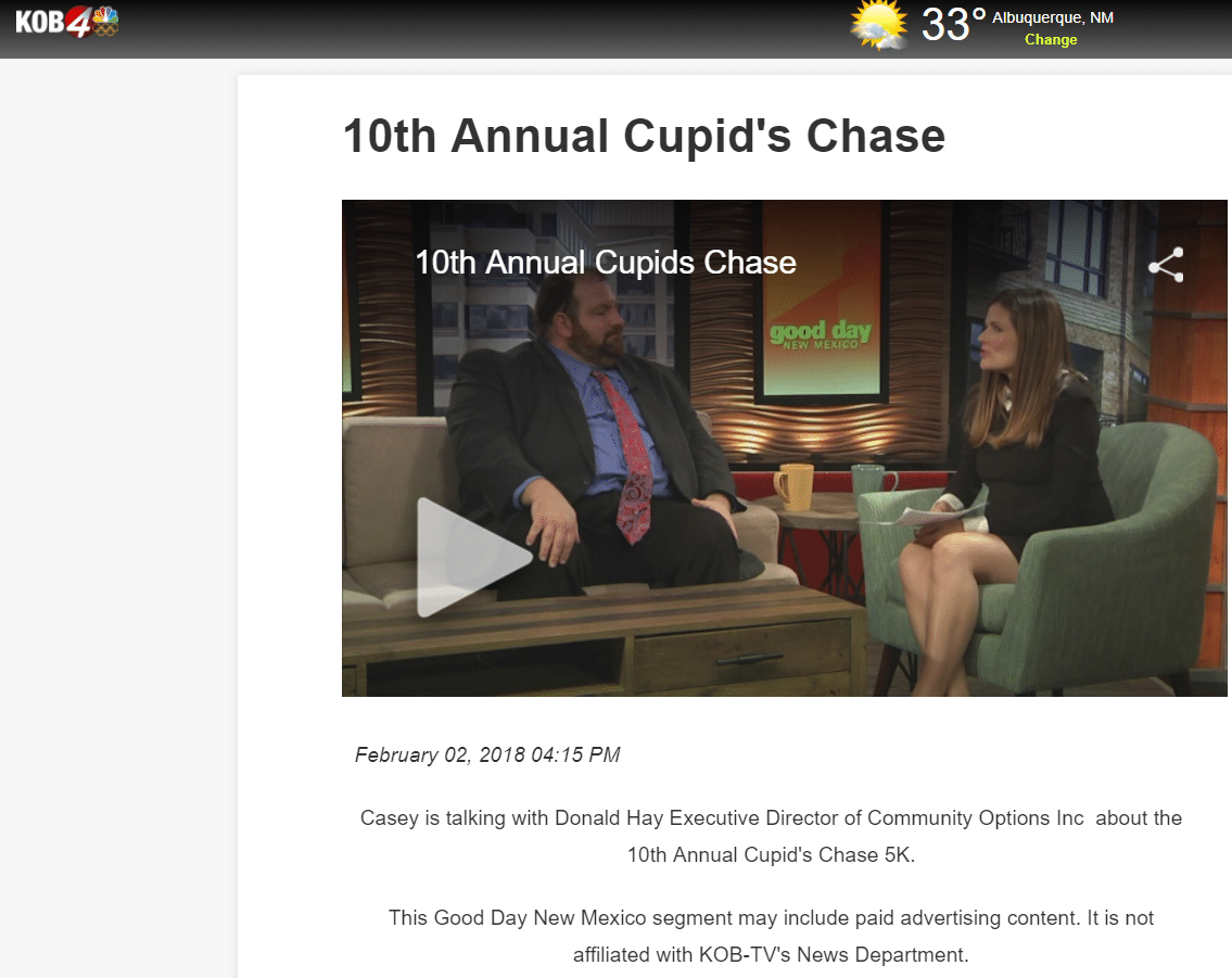 Donald Hay joins Good Day New Mexico to discuss the upcoming Cupid's Chase 5K.